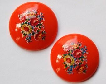 Vintage Orange Floral Domed Cabochons 28mm (2) cab760M