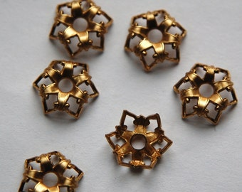Elegant Crown Raw Brass Bead Caps 13mm (6) mtl070