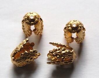 Ornate Raw Brass 4 Petal Bead Caps (4) mtl260A