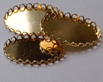 Gold Plated Lacy Filigree Edge Settings 40mm x 30mm (4) stn003H