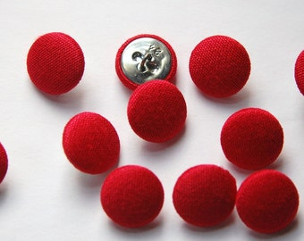 Vintage Red Silk Buttons 15mm btn002N