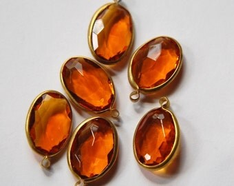 Vintage Brass Channel Set Faceted Oval Topaz Acrylic Drops Charms chr161B