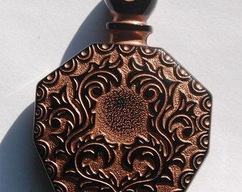 Black Etched Faux Perfume Lucite Bottle Pendant Copper Details Vintage pnd066A