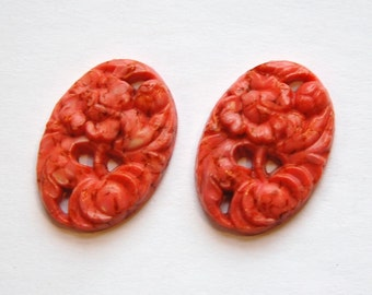 Vintage Coral Matrix Etched Floral Glass Cabochon cab749