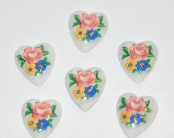 Vintage Heart Cabochons Flower Bouquet Japan 12mm (6) cab422C
