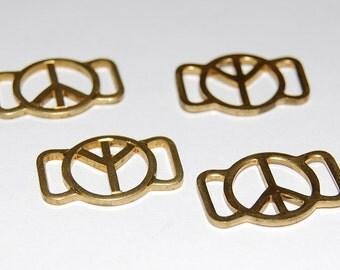 Vintage Brass Peace Sign Slider or Connectors chr079