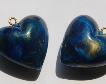 Vintage Blue Swirled Puffy Heart Charms Japan chr095A