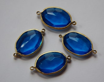2 Loop Brass Channel Set Faceted Blue Acrylic Charms chr165A