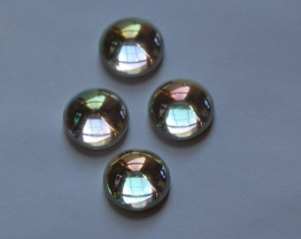 Vintage West German AB Clear Domed Cabochons 13mm (4) cab396
