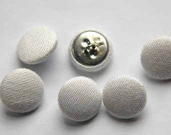 Vintage White Silk Buttons 15mm btn002J