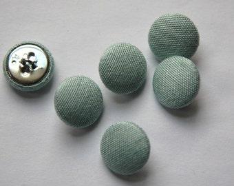 Vintage Mint Green Silk Buttons 15mm btn002G