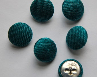 Vintage Teal Blue Silk Buttons 15mm btn002C