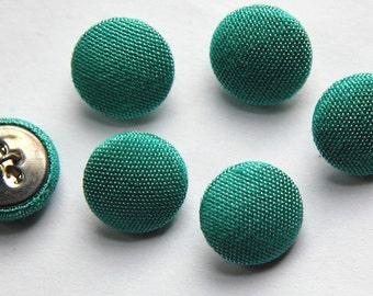 Vintage Light Blue Green Silk Buttons 15mm btn002B