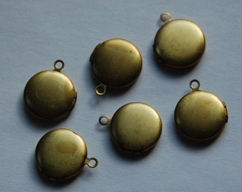 Vintage Raw Brass Round Lockets 13mm (6) lkt002D