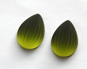 Matte Green Ribbed Melon Glass Pear Cabochons 18mm x 13mm cab450D