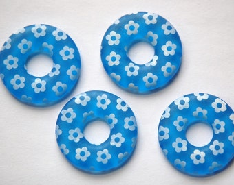 Vintage Blue Ring Lucite Beads with White Flowers bds722B