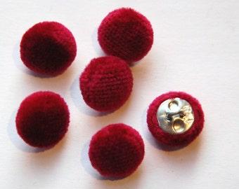 Vintage Wine Soft Velour Fabric Buttons 13mm Metal Shank btn004B