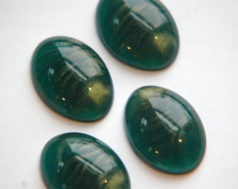 Vintage Lucite Teal Cabochons with Metallic Gold Swirls cab766B