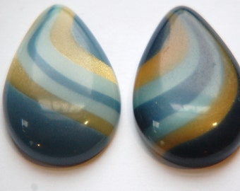 Vintage Blue Gold Pearl Swirl Lucite Teardrop Cabochons cab767