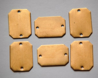 2 Hole Raw Brass Flat Pad Rectangle Connector Setting (6) mtl225