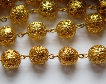 Vintage Raw Brass Filigree Beaded Chain 11mm Beads chn034