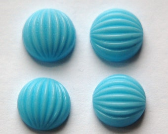 Vintage Blue Melon Glass Cabochons 11mm cab703H