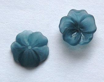 Vintage Matte Montana Blue Lucite Flower Bead Cap 14mm bds354F