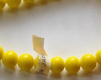 Vintage Yellow Glass Beads Japan 8mm (8) jpn003B