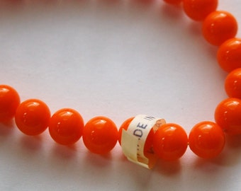 Vintage Orange Glass Beads Japan 8mm (8) jpn003A