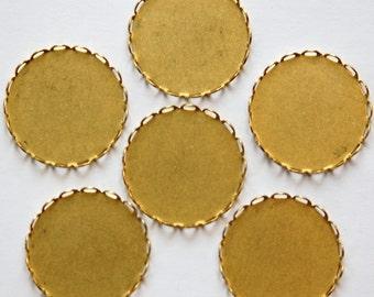 Raw Brass Lace Edge Filigree Setting 22mm (6) stn001J