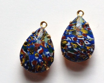 Vintage Blue Millefiori Glass Teardrop Stones in 1 Loop Brass Settings 18mm x13mm par004A