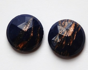 Vintage Dark Blue Faceted Glass with Goldstone 18mm cab780C