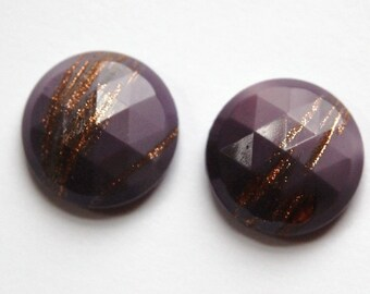 Vintage Plum Purple Faceted Glass with Goldstone 18mm cab780E