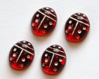 Ruby Red and White Glass Lady Bug Cabochons (4) cab781A