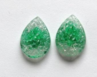 Vintage Green Givre Sugar Rhinestones cab057B