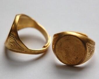 Raw Brass Round Adjustable Ring Blank 15mm sm mtl254A