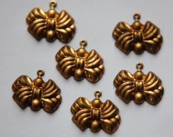 Raw Brass Puffy Bow Charm Drop chr003