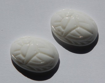 Vintage Opaque White Scarab Glass Cabochons 18x13mm (2) cab319C