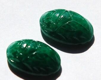 Vintage Green Scarab Glass Cabochons 18x13mm (2) cab319R