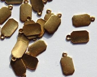 1 Loop Raw Brass Rectangle Blank Tag Drop Charms 11mm x 6mm (16) mtl320C