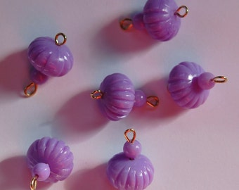Vintage Purple Melon Bead Drops Connectors Japan bds022D