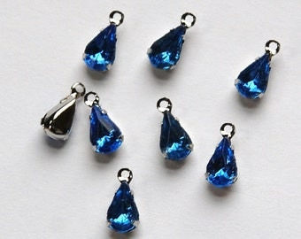 Sapphire Glass Teardrop Stones in 1 Loop Silver Setting par005D