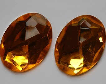 Faceted Topaz Acrylic Flat Back Cabochons 40x30mm cab787D