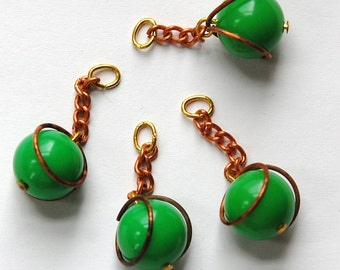 Vintage Green Acrylic Copper Wrapped Bead Drops with Chain Japan chr146A