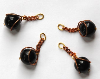 Vintage Black Acrylic Copper Wrapped Bead Drops with Chain Japan chr146C
