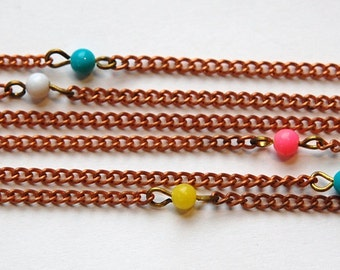 Vintage Pastel Plastic Beaded Copper Chain chn053