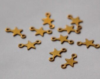 2 Loop Tiny Raw Brass Star Connectors Drops (16) mtl289