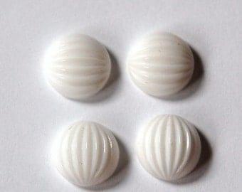 Vintage White Melon Glass Cabochons 11mm cab703M