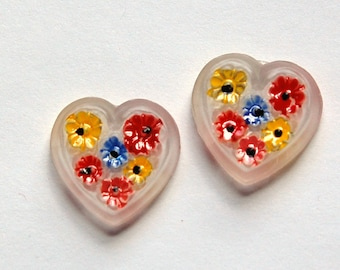 Vintage Hand Painted Glass Heart Cabochons cab130