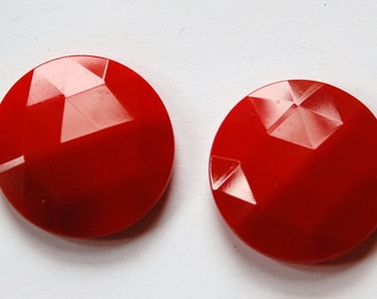 Vintage German Red Faceted Glass Cabochon 25mm cab723F